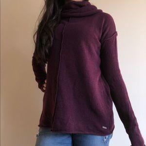 PRANA Cowl Neck Tunic Sweater Burgundy